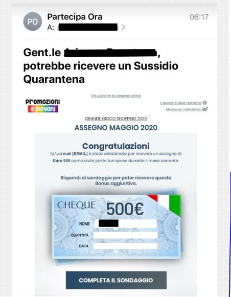 Rispondi sondaggio ricevere Sussidio Quarantena 500 €: non aprite quella email! - FrShot_1589709784
